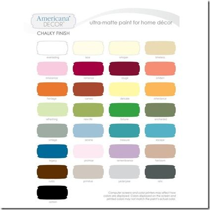 Americana Decor Chalky Paint Swatches Michaels Home Depot