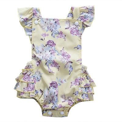 51b8f369b43 Summer Newborn Infant Baby Girl Button Floral Tutu Romper Back Cross Jumpsuit  Outfits Sun-suit Clothes