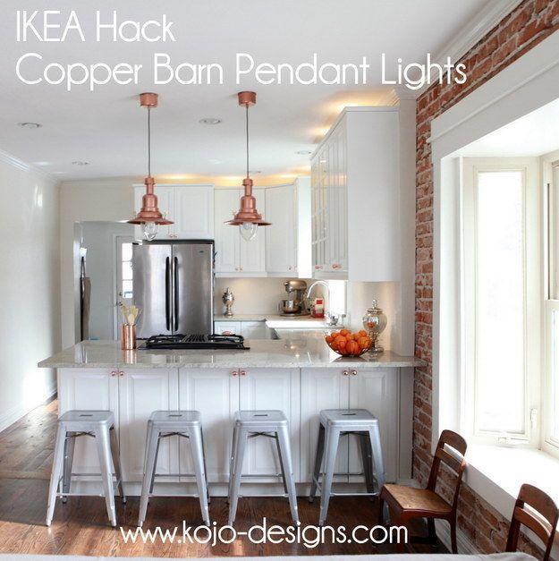 cool ikea lighting ideas | Transform Ikea lights into cool copper barn lights ...