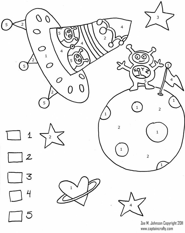 Space color by numbers worksheet