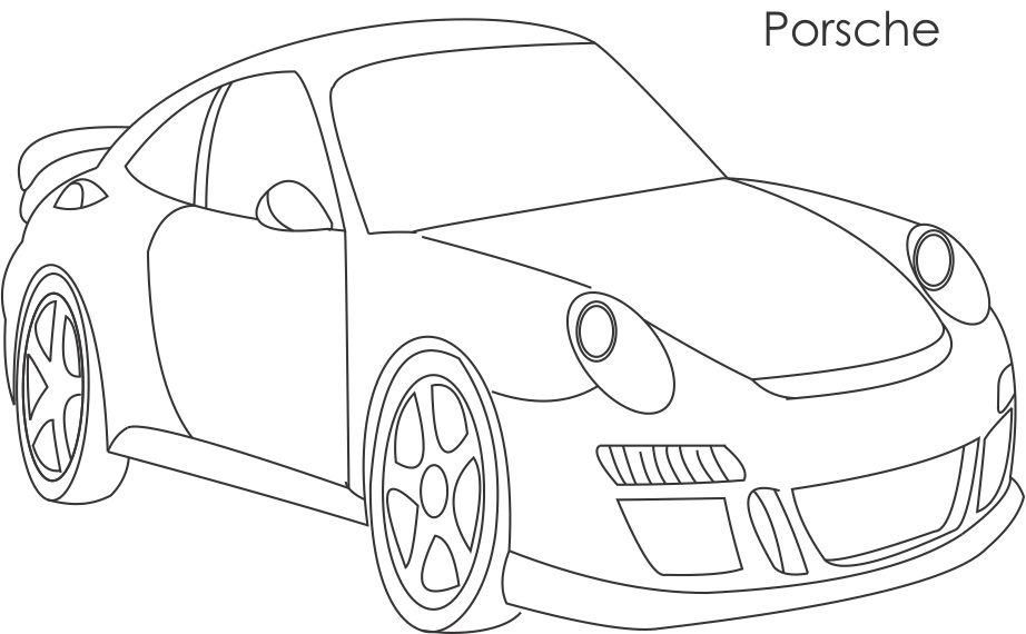 Simple Car Super Car Porsche Coloring Page For Kids Super