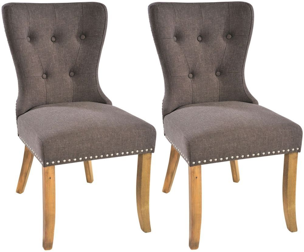 rowico adele button back tiara grey fabric dining chair pair