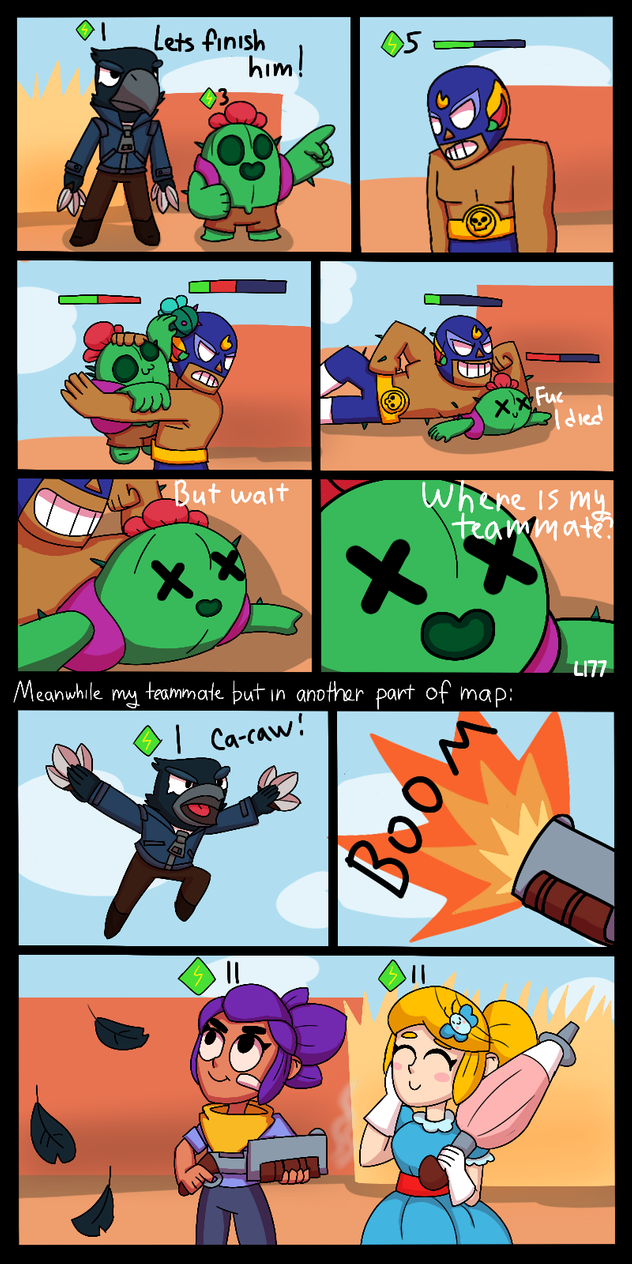 When You Play Duo With Randoms Brawl Stars By Lazuli177 Star Comics Brawl Game Character Design