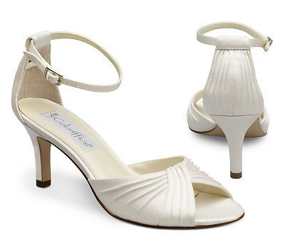 Ivory Satin Closed Back Ankle Strap High Heel Shoes Fashion