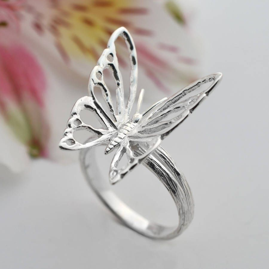 Fine Jewelry Personally Stackable Genuine Gemstone Sterling Silver Butterfly Ring bmpK4o
