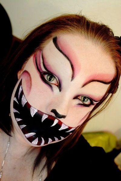 Cheshire cat costume makeup glitter-bombs