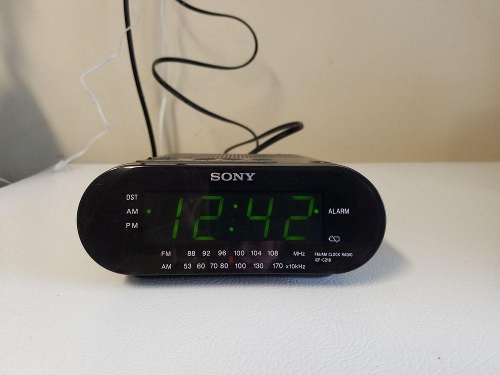 Sony Am Fm Icf C218 Black Dream Machine Alarm Clock Am Fm Radio