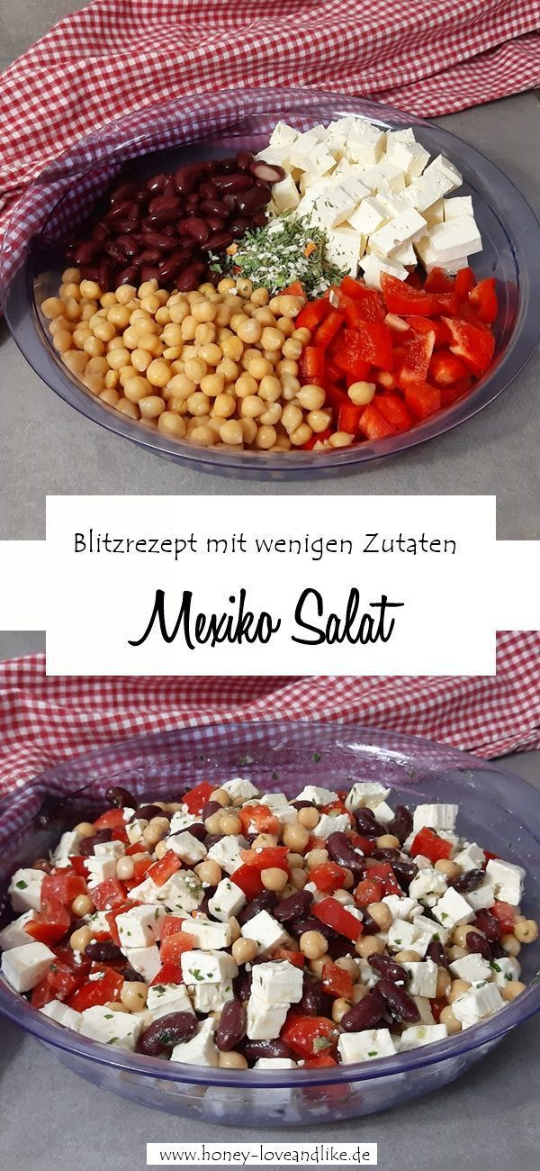 Photo of Lowcarb Mexiko Salat mit Bohnen, Kichererbsen, Paprika und Feta