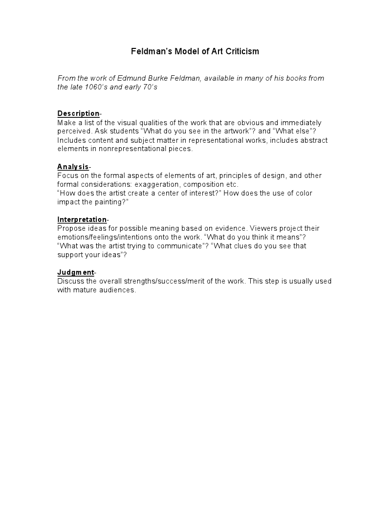 Feldmans model of art criticism – Art Criticism Worksheet