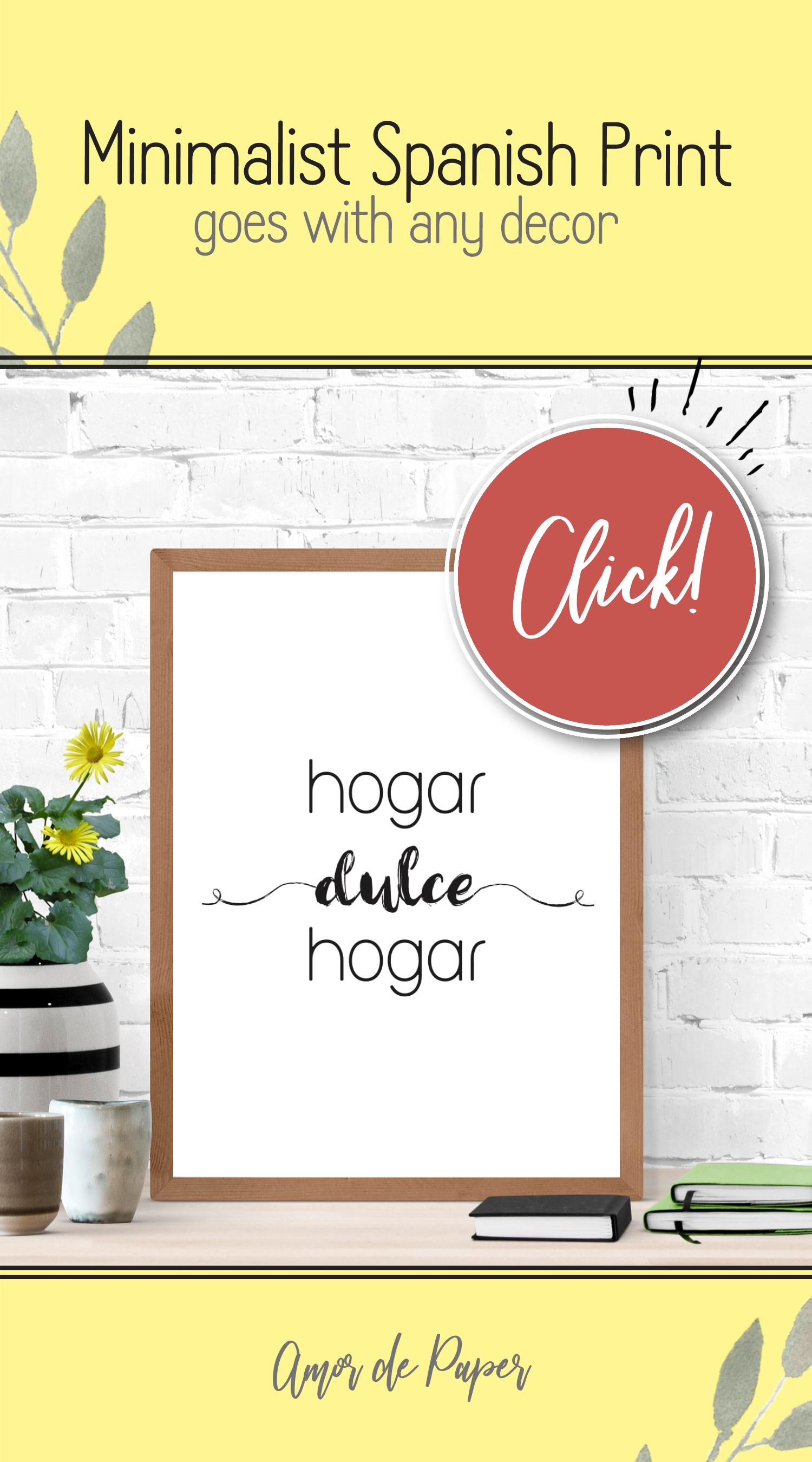 Hogar Dulce Hogar Spanish Wall Art Printable Watercolor Floral
