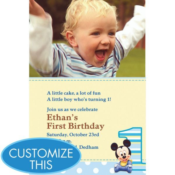 Found the invites for my Romeo :) Mickey Mouse 1st Birthday Custom Photo Invitation