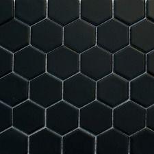 Black Hexagon Matt Mosaic Wall Amp Floor Tiles 4 8 X 4 8