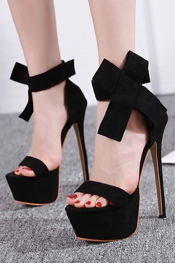 black platform stiletto sandals