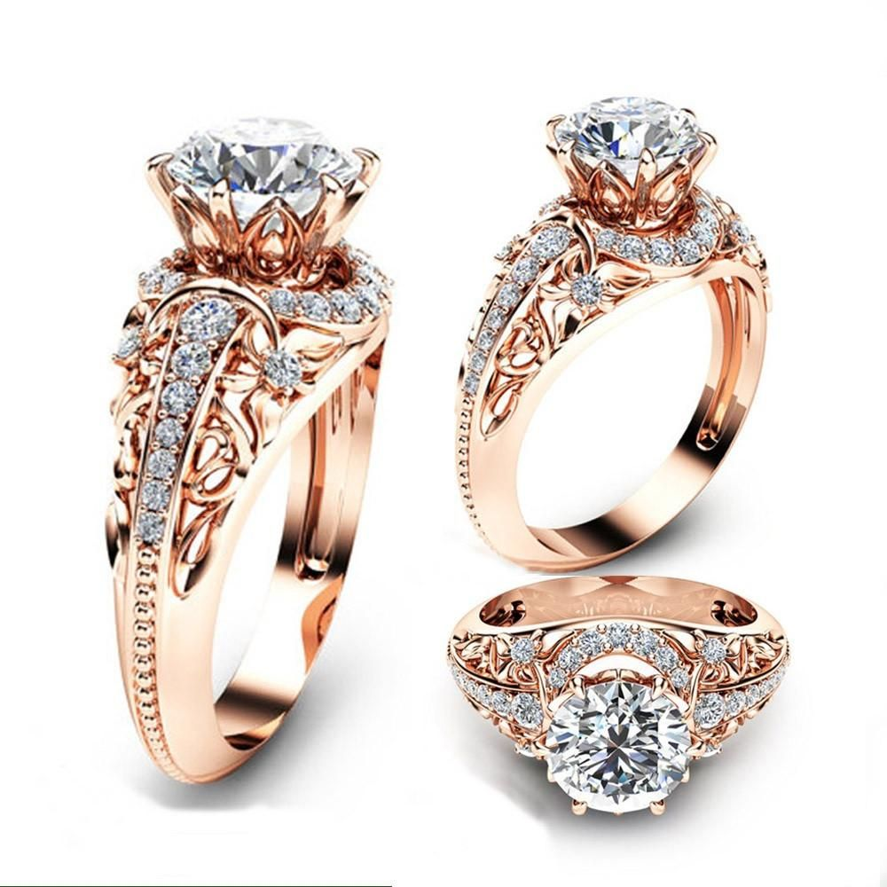 Luxury Wedding 14K Rose Gold Ring Round Cut 2.2CT White Topaz Engagement  Ring 594400363eff