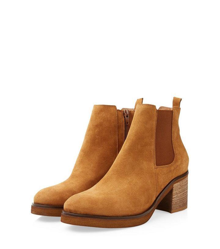 Tan Suede Block Heel Chelsea Boots   New Look   Chaussures