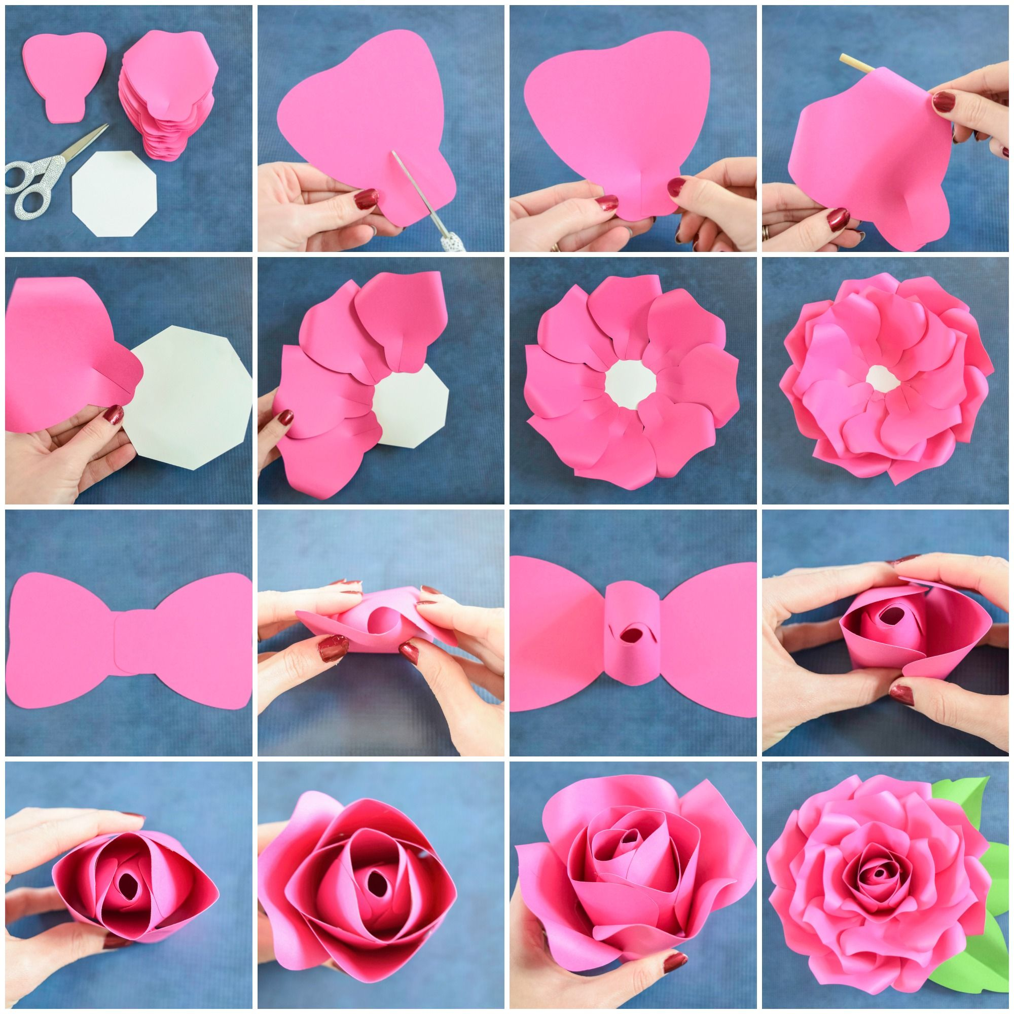 Giant Paper Flowers How To Make Paper Garden Roses With Step By Step Tutorial Paper Flower Tutorial Big Paper Flowers Paper Flower Template