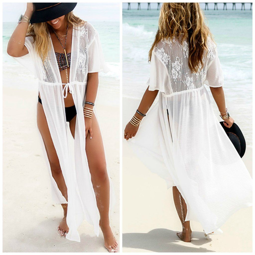 4c04953aa4 White Split Draw String Long Beach Cover Up Dress in 2019 | Bikini ...
