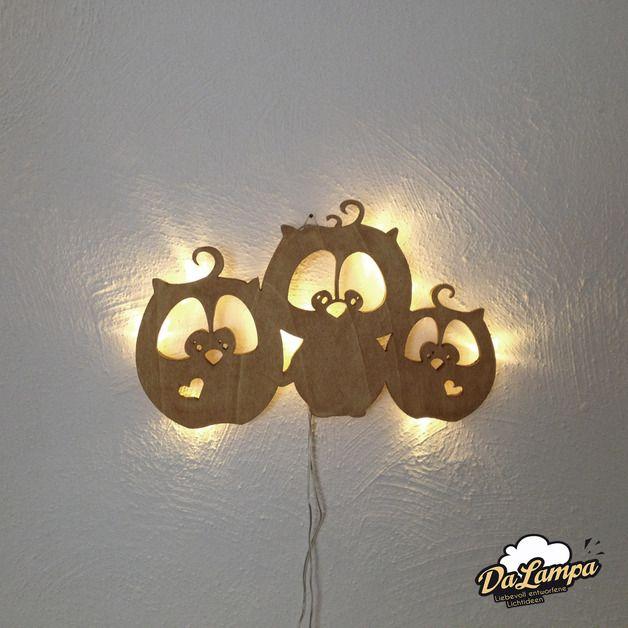 wandleuchten wandlampe 3 eulchen aus holz mit led ho03 ein designerst ck von dalampa bei. Black Bedroom Furniture Sets. Home Design Ideas