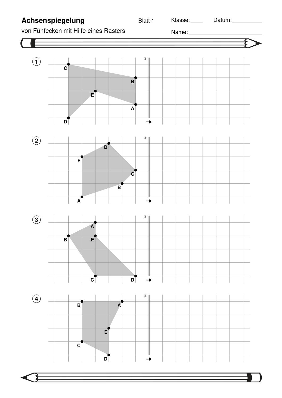 Achsenspiegelung von Fünfecken im Raster mit Lösungen ...
