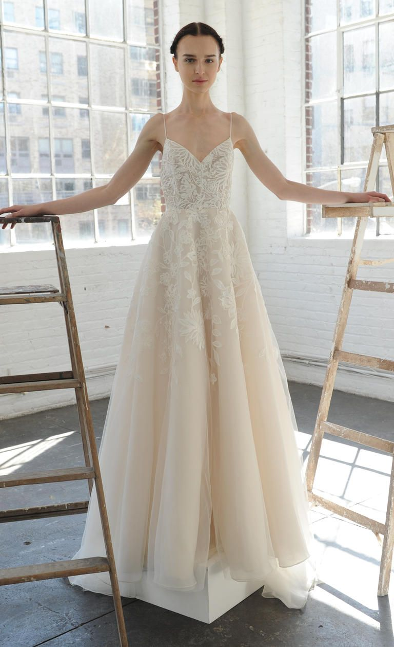 v neck gown with spaghetti straps and floral detailing lela rose spring 2017