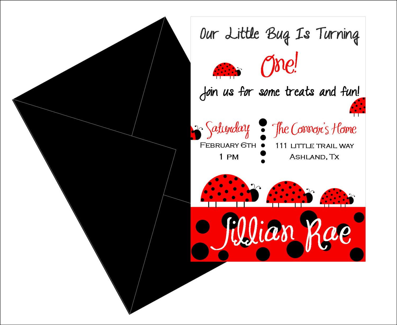 Simple Ladybug party invitation, Lady Bug invite, printable, party ...