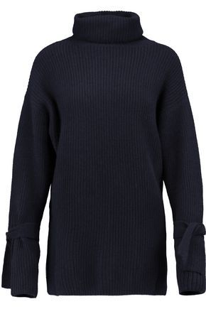 N.PEAL WOMAN OVERSIZED RIBBED CASHMERE TURTLENECK SWEATER NAVY. #n.peal #