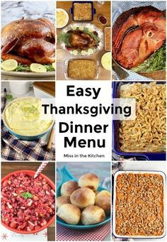Easy Thanksgiving Dinner menu including main dishes delicious sides simple appet…