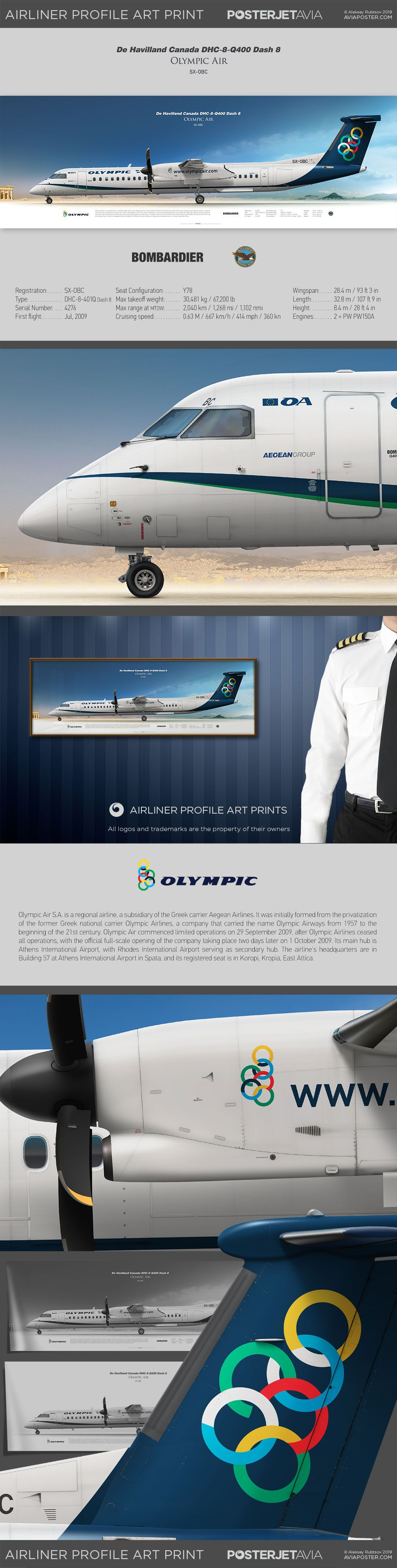 De Havilland Canada DHC-8-Q400 Dash 8 Olympic Air SX-OBC | Airliner Profile Art Prints | #posterjetavia #aviation #aviationlovers #airplanes #planes #avgeek #airlineposter #pilotlife #pilots #instaplane #worldofaviation #instaaviation #profileprints #civilaviation #olympicair #athens #Q400 #dhc8