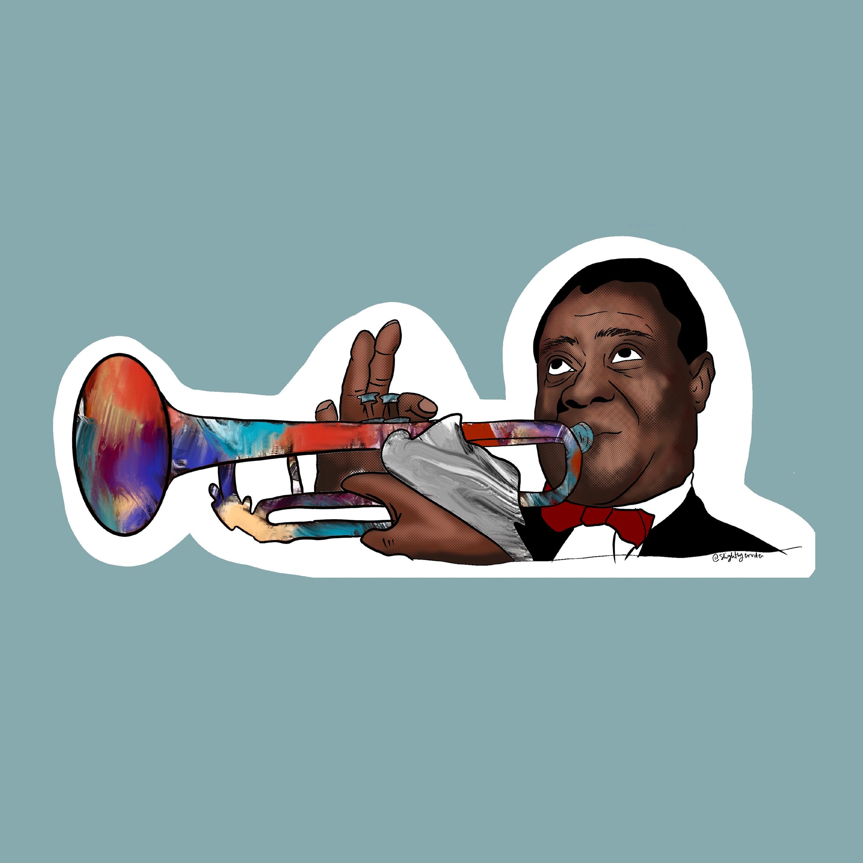 louis armstrong dyed trumpet vinyl sticker decal etsy in