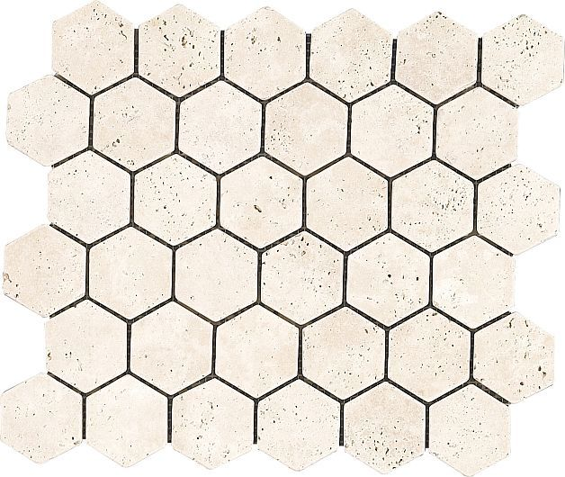 Assos Marble – Doğal Taş, Mermer, Antik Mermer – Multisize Mosaics – Honeycomb Mosaics – AS-HCL-01 CLASSIC TRAVERTINE