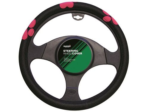 Summit Universal Steering Wheel Cover, Black with Pink Paw Print ...