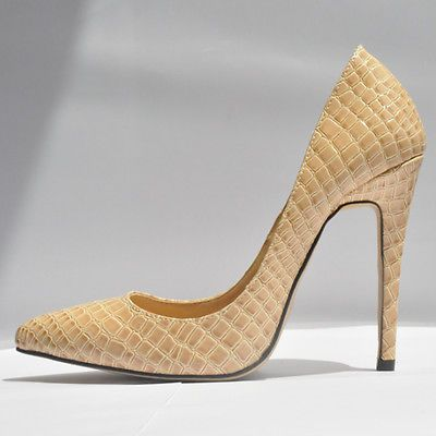 Nude Sexy Pumps Ladies Crocodile Grain pattern pointed toe High Heels  Stilettos Shoes