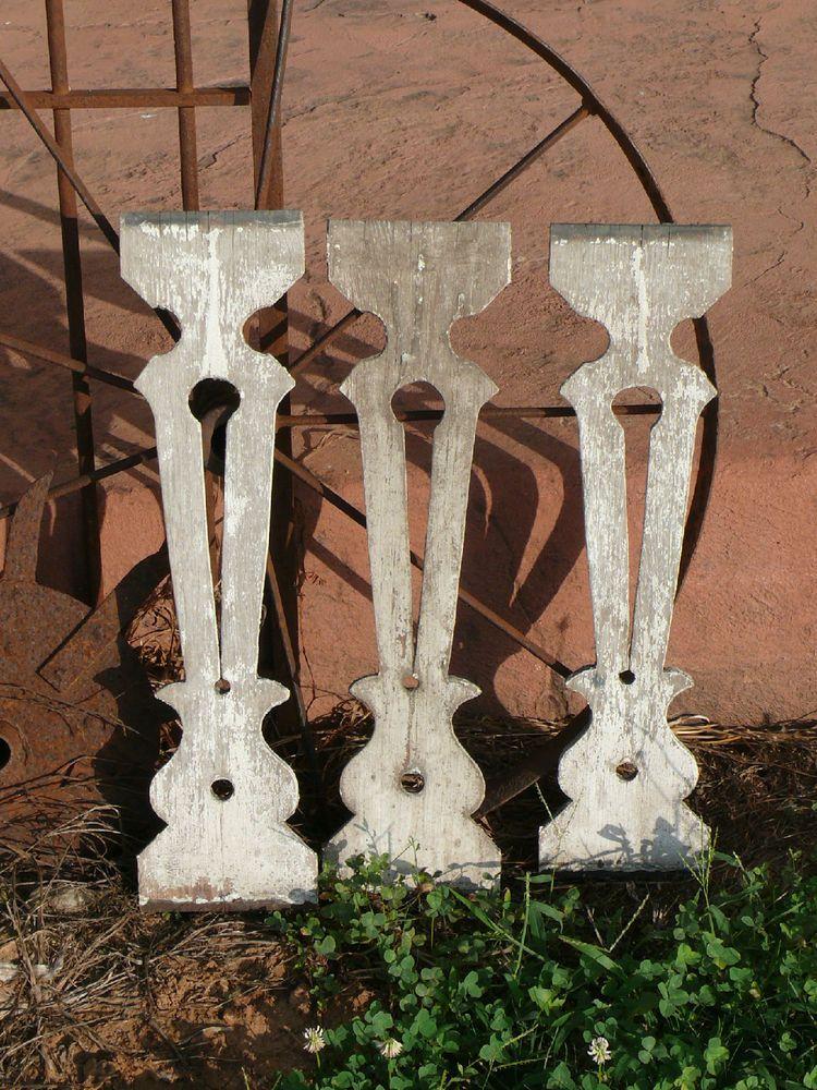 Vintage Set Of Three Flat Wood Porch Railing Balusters