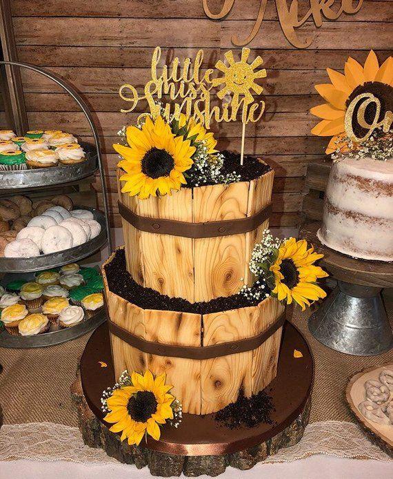 1 pc cute little miss sunshine script Gold Glitter Cake ...