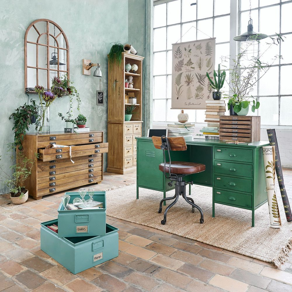 Green metal industrial door drawer desk green colour crush