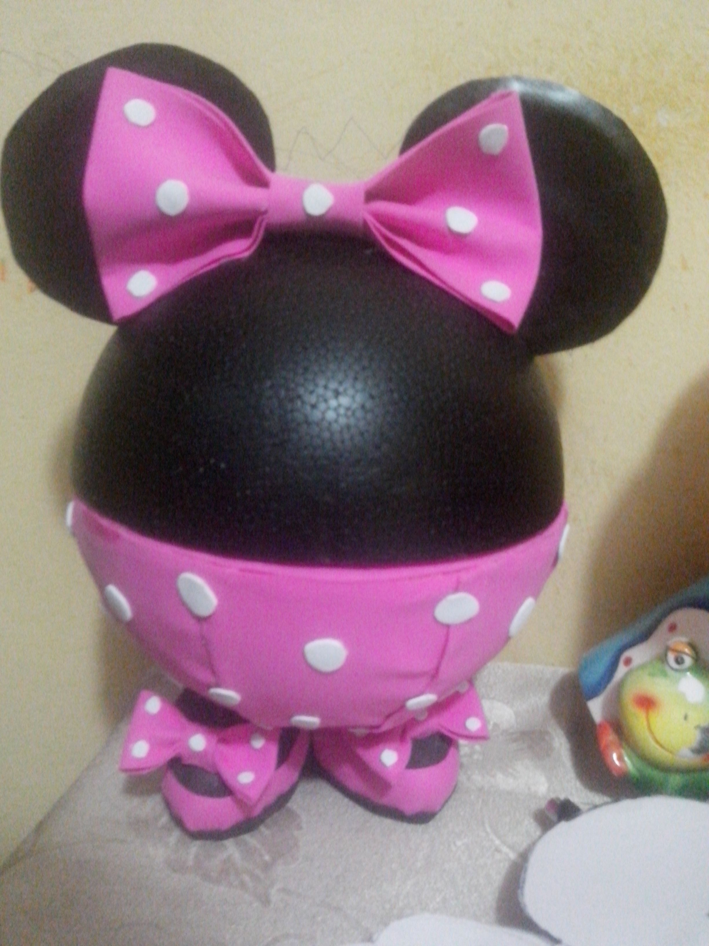 Centro de mesa dulcero de minnie hecho en fomi mis - Manualidades minnie mouse ...