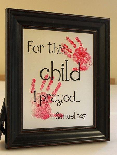 For This Child I Prayed DIY Hand Print Frame Vinyl Decal   Child ...