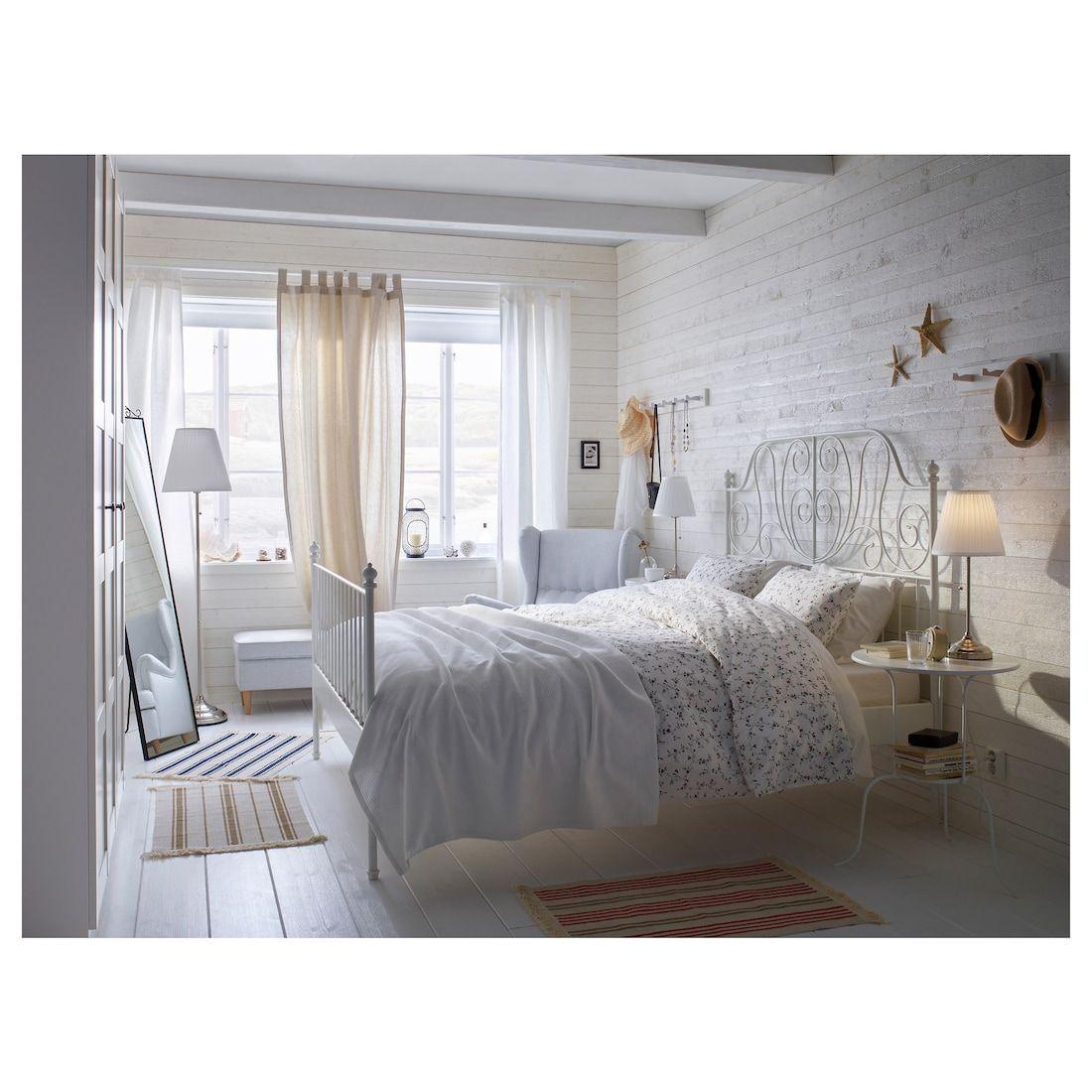 Leirvik Estructura Cama Blanco 140x200 Cm Ikea In 2020 White Metal Bed White Metal Bed Frame White Bed Frame