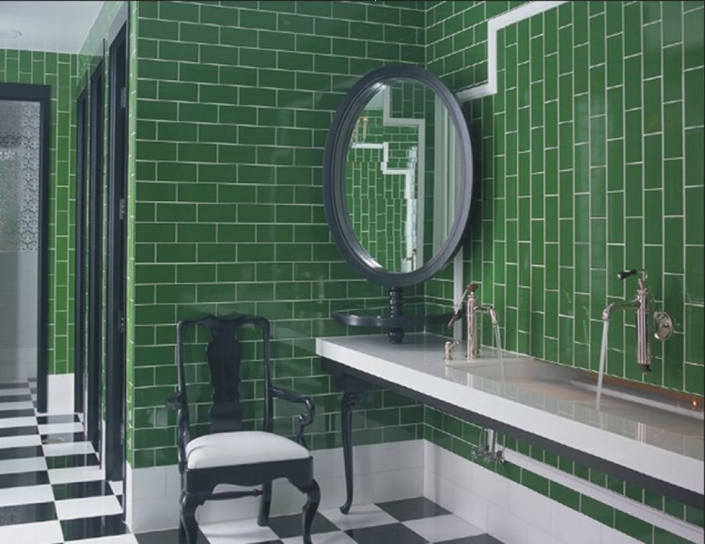 Unique Bathroom With Corner Mirror And Forest Green Wall Ceramic Tiles Green Bathroom Green Bedroom Design Green Subway Tile