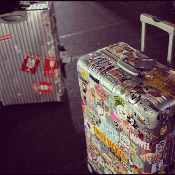 stickers in luggage