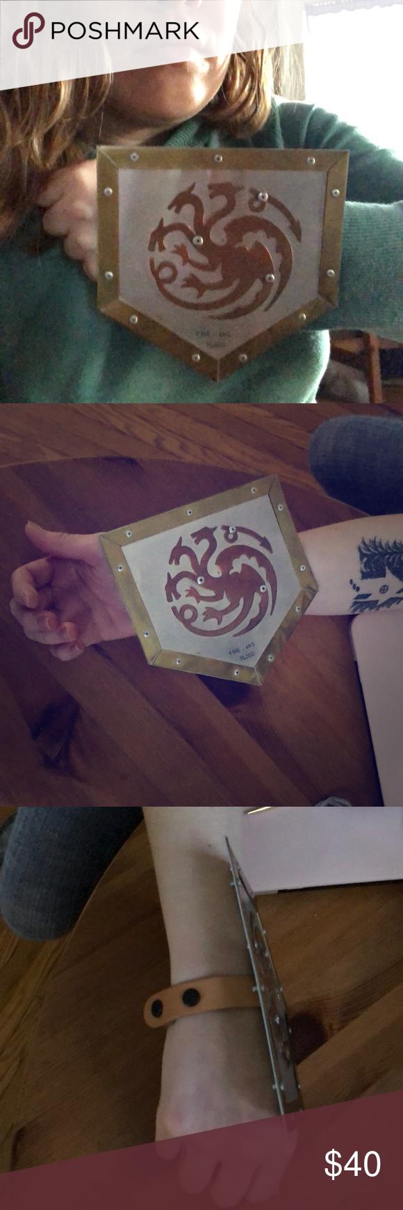 House Targaryen Of Dragonstone Bracelet And Shield Lovely Handmade Leather Copper Br With The Banner