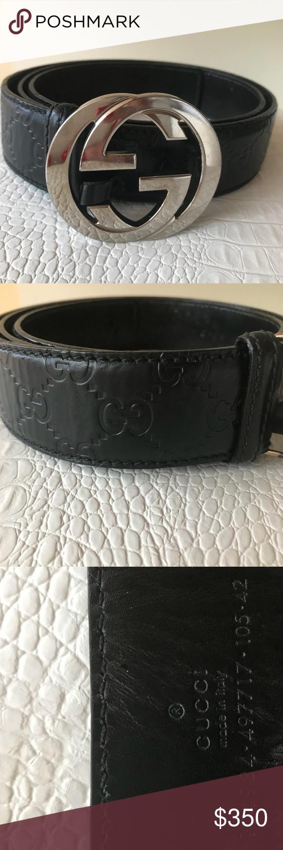 fbb160d0060 Black Leather Gucci Belt For Men Good Condition Signature
