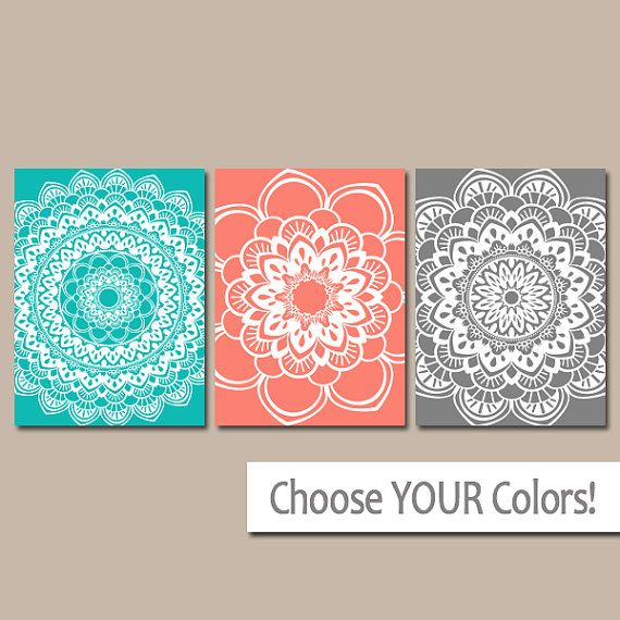 mandala wall art coral gray bathroom decor canvas or prints rh pinterest com Green Gray and Coral Bathrooms Green and Coral Bathroom