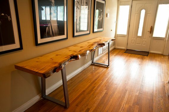 Live Edge Blue Stain Pine Console Table Handmade Steel