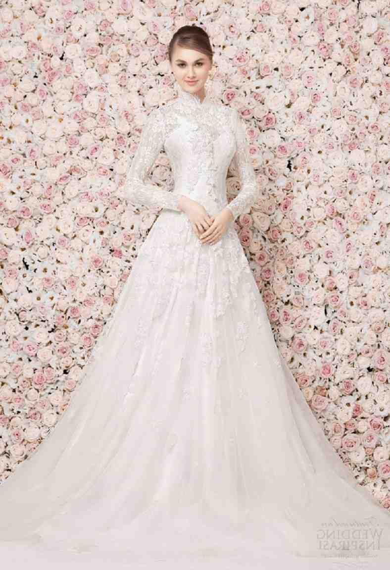 High Neck Long SleeVe Wedding Dress   high neck wedding dress ...
