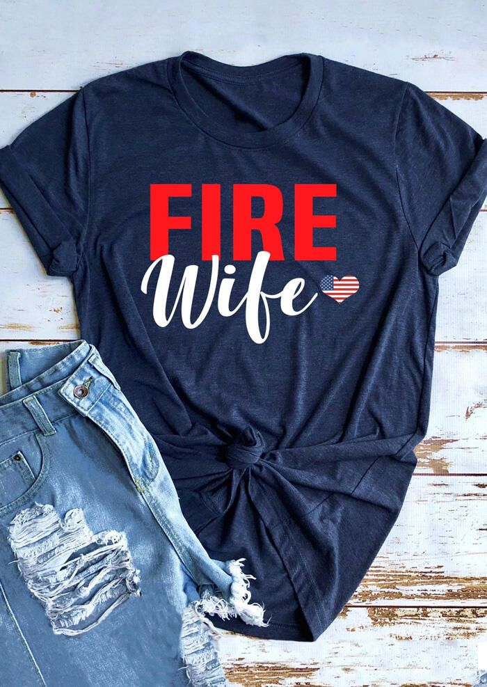 Fire Wife American Flag Heart T-Shirt Tee - Navy Blue # #T-shirts  We offer to you women's clothing, shoes, jewelry, bags and much more. #Fashion #Dress #Shoes