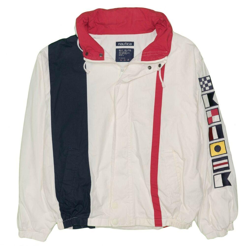 Vintage Nautica Bomber Track Jacket X Large Color Block 1990 S Usa Flag Colors Fashion Clothing Shoes Accessories Mensclothi Track Jackets Jackets Nautica