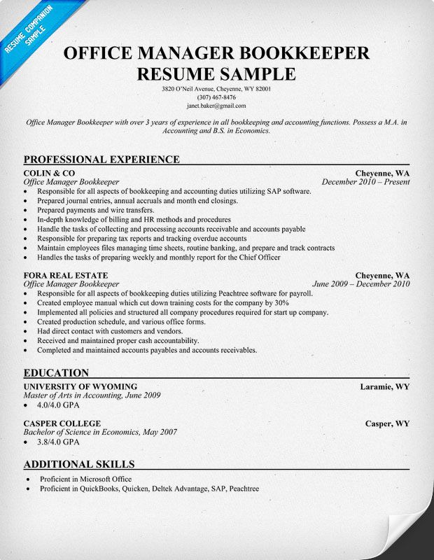 office manager bookkeeper resume samples across all industries pinterest resume examples