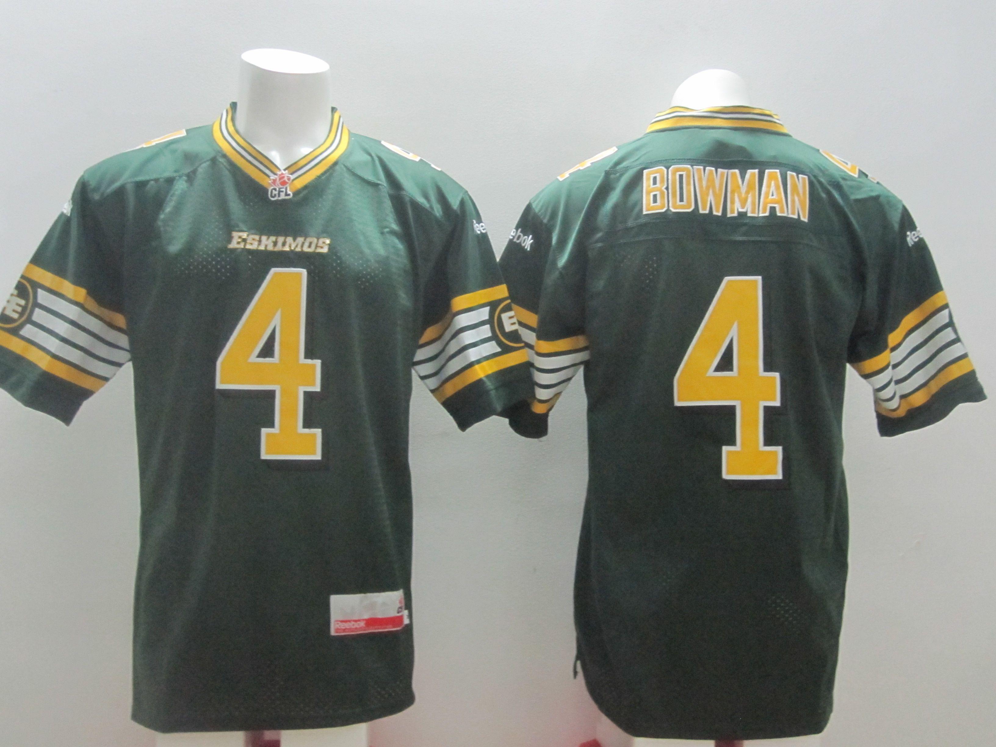 the latest 2b288 597ec Edmonton Eskimos No.4 Adarius Bowman Green Men's Football ...