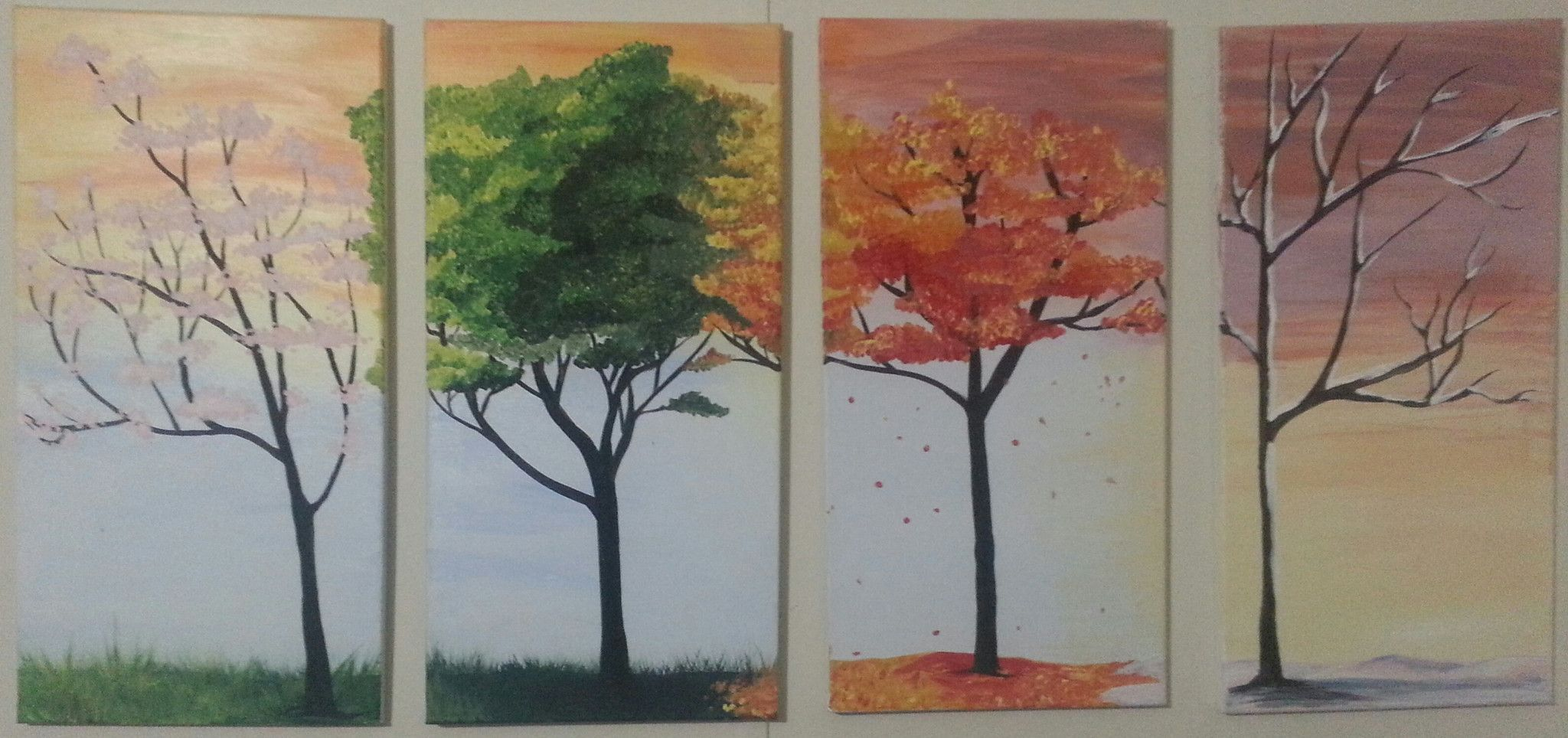 four seasons trees  watercolor art watercolor paintings art